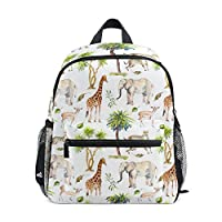 BALII Watercolor Elephant Giraffes Toddler Backpack Book Bag School Rucksack for Girl Boy Children
