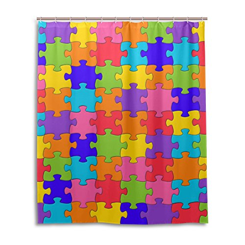 rful Puzzle Piece Rainbow Wasserdicht Bad Vorhang 100% Polyester Stoff Home Dekorative Badezimmer Dusche Vorhang 152,4x 182,9cm ()