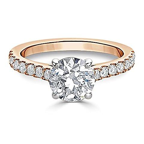 Forever Diamond - 14K Rose Gold 14 Karat Rotgold Rundschliff Hochfeines Weiß +/River (D) Diamant