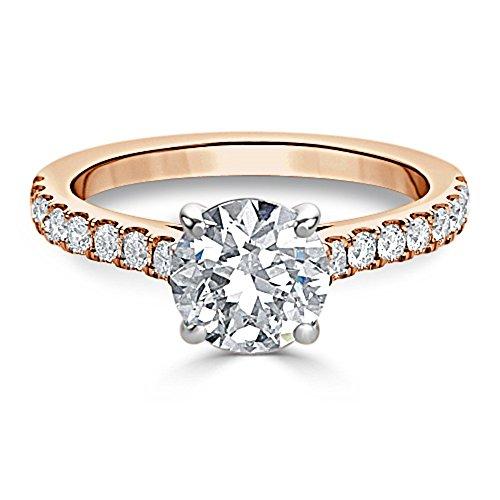 14K Rose Gold  14 Karat Rotgold Rundschliff   Hochfeines Weiß +/River (D) Diamant  ()