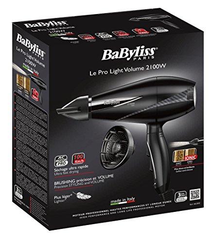 BaByliss Le Pro Light Volume - Secador de pelo profesional con difusor, motor AC, 2100 W, con generador de iones, más ligero y ergonómico,  6 velocidades / temperaturas, color negro