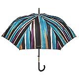 Klassischer Regenschirm Frauen Maison Perletti - Eleganter Stockschirm Automatik- Hohe Qualität mit Goldenen Details - Griff mit Strassstreine - Gestreifter Gemalt Effekt (Türkis)