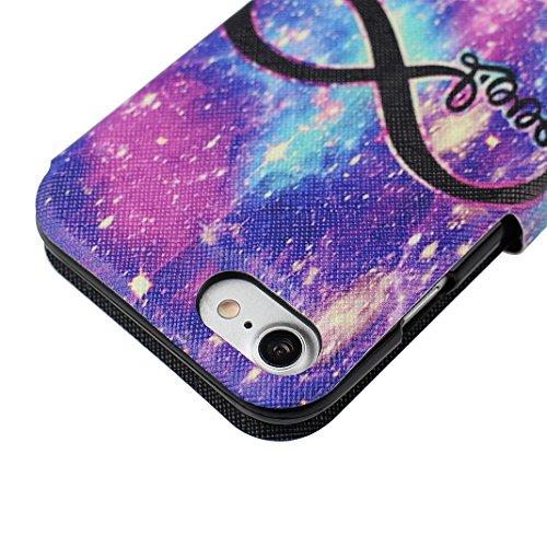 iPhone 7 Custodia, Moon mood Colorato Modello Flip Custodia in PU Pelle per iPhone 7 Cover Portafoglio Libro Protective Case con Chiusura Magnetica e Funzione di Supporto Leather Wallet Stand Cover pe Pattern 10