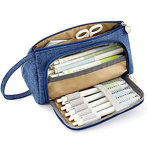 -up Tasche große Kapazität Student Make-up Kit langlebig Schreibwaren zwei große Taschen mit Reißverschluss Doppelbeutel Schreibwaren Jungen und Mädchen,Blue ()