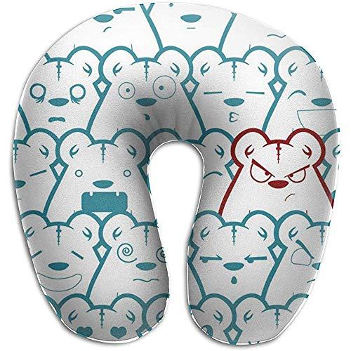 Xiaoyinghua Almohada para el Cuello en Forma de U Osos Almohadas Impermeables Portátil Suave para Viajes...
