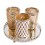 Tealight in vetro con piastra a specchio Tealight portacandela in vetro Candle Wind Glass Vassoio candela (oro) Antique