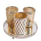 Cristal de candelabro con placa de espejos Soporte de candelabro Vidrio de vela Luz de viento Bandeja de vela de vidrio (dorado) Antique