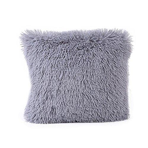 POPLY Cushion Covers Pillow Colorful Plush Pillow Case Sofa Waist Throw Cushion Cover Home Decor,16 x16Inch,Series (Gray, 16 * 16)