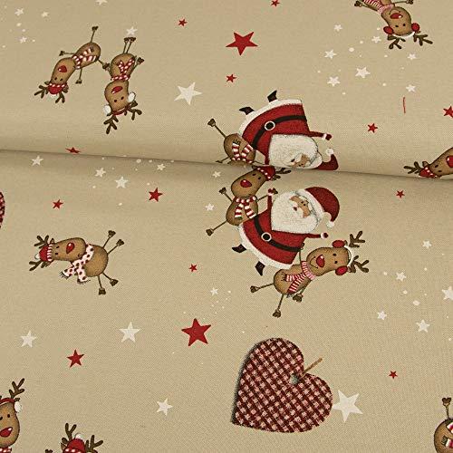 Stoffe Werning Dekostoff Weihnachtsmann & Rentiere beige Dekorationen - Preis Gilt für 0,5 Meter