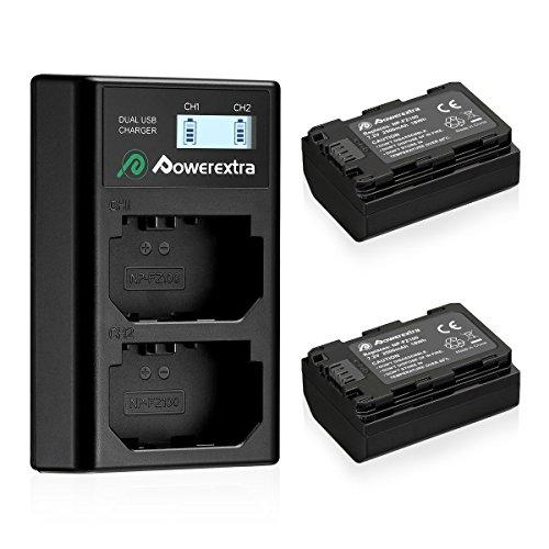 Powerextra 2 Sony 2500mAh NP-FZ100 Batteries de Remplacement et Chargeur de Batterie Double LCD pour Sony Alpha 9, Sony A9, Sony A9R, Sony Alpha 9V, Sony A9s, Sony A7RIII, Sony A7R3, Sony a7 III
