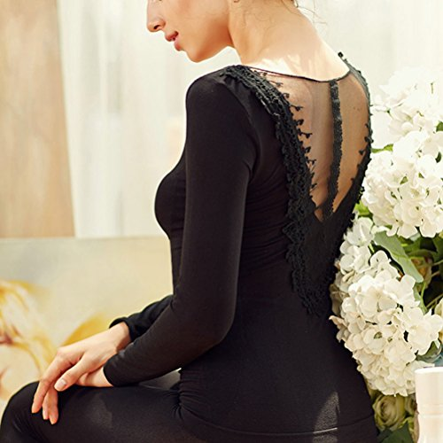 Zhhlaixing Biancheria intima termica di qualità Warm Thermal Underwear Ladies Lace V Neck Embroidery Sleepwear Set Women's Body Sculpting Top & Bottom Black