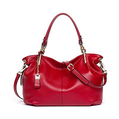 BOSTANTEN Leder Damen Handtaschen Schultertasche Umhängetasche Tote Bag Rot
