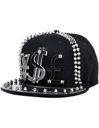 LOCOMO Men Women Black Hedgehog Spike Acrylic Currency Sign Baseball Cap FFH067