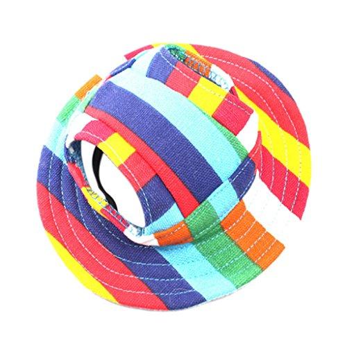 Hundecap Hundhut Baseball Cap Hut Mütze Kappe Haustier Hunde Katze Sommer Hut - Colorful stripes, M - Visor Stripe Cap