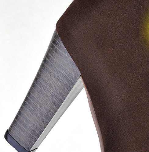 Wealsex Bottes Suédine Talon Carré Plateforme Dentelle Genou Lacets Bout Ronde Botte Femme Hiver Grande Taille 40 41 42 43 Brun