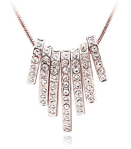 QUADIVA E Frauen Mädchen Damen Halskette mit 7-Ovalen-Anhänger (Farbe: Rosegold) verziert mit funkelnden Kristallen von Swarovski®