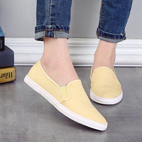Damen Slipper Rundzehen Slip On Canvas Freizeitschuhe Niedrige Atmungsaktiv Anti-Rutsche Einfache Bequeme Schuhe Gelb