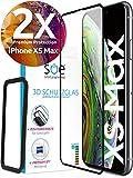 [2 Stück] 3D 9H Schutzglas kompatibel mit iPhone XS MAX - volle Abdeckung - Installationshilfe - Hüllenfre&lich - Panzerglasfolie - HD Bildschirmschutzfolie / Panzerfolie- Displayschutz
