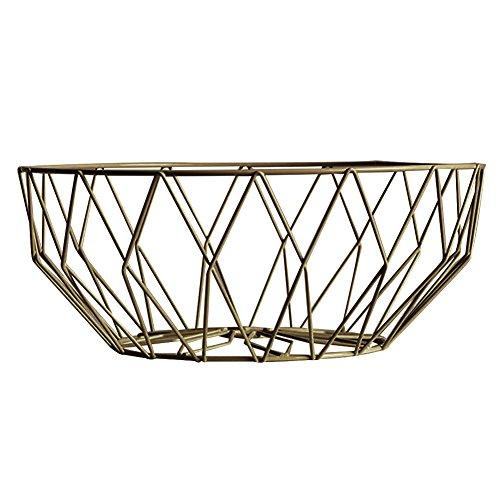 Obstkorb Eisen Draht Aufbewahrungskorb Schale für Obst Gemüse Wohnzimmer Tisch Esszimmer Dekoration gold (Chrom-draht-korb)