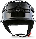 Moto D33 - Ensemble en cuir noir (noir) casques Jet -Scooter Chopper, scooter Bobber...