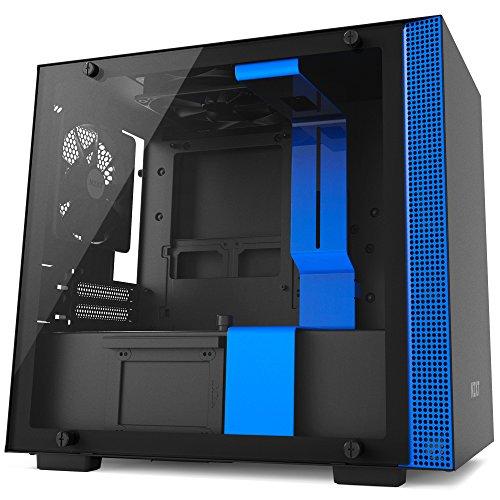 NZXT H200 - Caja de PC Gaming Mini-ITX - Panel de vidrio templado - Construcción íntegramente de acero - Sistema de gestión de cables mejorado - Preparada para refrigeración líquida - Negro/Azul