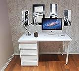 Mesa de escritorio blanca montada lista para ser utilizada de 90 cm - Una mesa de estudio juvenil con cajonera blanca de 4 cajones usada para mesa de ordenador o de estudio