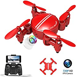 Rolytoy VraiJouet Mini Drone Plegable, App Control WiFi FPV con cámara Video en Vivo 720P HD, RC Pocket Drone RTF Quadcopter, Modo sin Cabeza, Volteo de 360 °, Altitud, Inicio con una tecla(Rojo)
