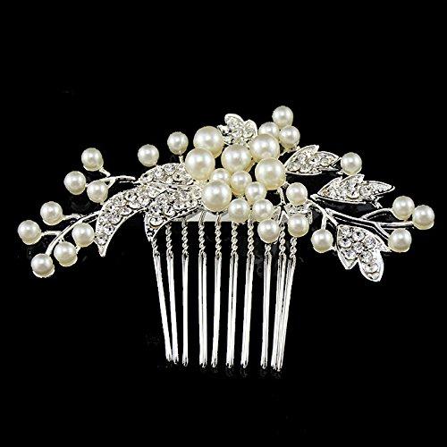 Miracle ® mega jouer plaqué de mariée avec peigne à cheveux à fleurs en perles et cristaux, mariée à cheveux pour mariage bijoux form07