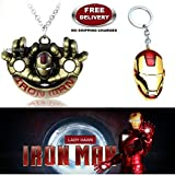 (2 Pcs AVENGER SET) - IRONMAN HANDS (GOLD) IMPORTED PENDANT & IRON MAN HELMET (RED/GOLD) KEYCHAIN. LADY HAWK DESIGNER SERIES 2018. ❤ ALSO CHECK FOR LATEST ARRIVALS - NOW ON SALE IN AMAZON - RINGS - KEYCHAINS - NECKLACE - BRACELET & T SHIRT