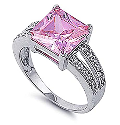 Little Treasures Rhodium Plated Sterling Silver Wedding & Engagement Ring Princess Cut Pink CZ Ladies Ring
