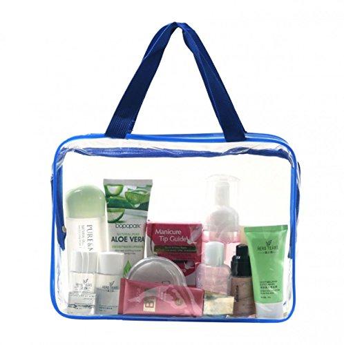 WODISON Drei-Stück PVC-Tasche Kosmetische Make-up-Tasche für Frauen (Schwarz-Groß) Blau-Groß