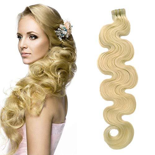 22 Zoll Tape Extensions Echthaar Honig Blonde 60grams 20 Tressen x 4 cm breit Soft Heat Resistant Real Human Hair Wavy Blonde Brazilian Remy Hair Tape In Haarverlängerungen(#24, 22Zoll)