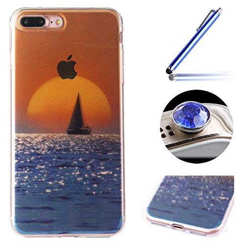 Etsue Doux Protecteur Coque pour iPhone 7 Plus,TPU Matériau Frame est Transparent Soft Cover pour iPhone 7 Plus,Coloré Motif par Dessin de Mode Case Coque pour iPhone 7 Plus + 1 x Bleu stylet + 1 x Bl mer,coucher du soleil