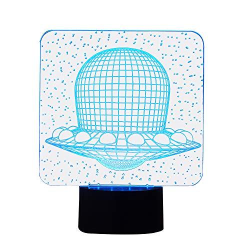 NIID 3D Illusion Nachtlicht LED-Licht 7 Farbe mit Touch-Schalter USB-Kabel Nizza Geschenk Home Office Dekorationen, fliegende Untertasse