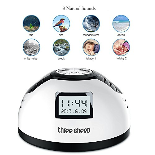 three sheep White Noise Machine, Baby Sleep Sound Machine with 8 Soothing Sounds Auto-off Timer Alarm Clock for Kids Portable Machine for Sleep, Spa Relaxation, Office Nap and Travel (White) (Sleep Sound Machine)
