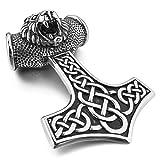 MunkiMix Groß Edelstahl Anhänger Halskette Silber Ton Schwarz Löwe Amulett Mythische Herren ,mit 58cm Kette