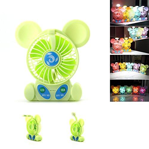 Mini Fans , batteriebetriebene persönliche tragbare Schreibtisch Tischventilator mit Tischlampe Nachtlicht USB Akku Lüfter für Kinder Student Office Zimmer im Freien Haushalt Sommer