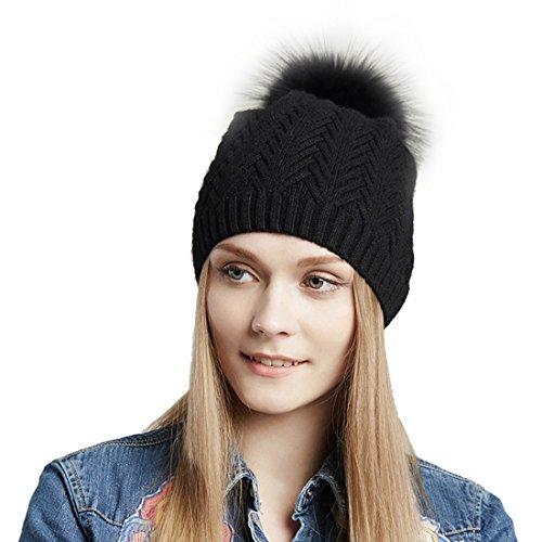 URSFUR Unisex gorra o pasamontaña de algodón de rayas con pompón de mapache orejas tapadas cálido en otoño y invierno