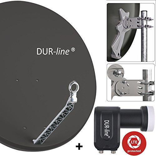 """DUR-line 2 Teilnehmer Set - Qualitäts-Alu-Sat-Anlage """"DVB-T2 Alternative"""" - Select 85/90cm Spiegel/Schüssel Anthrazit + DUR-line Twin LNB - Satelliten-Komplettanlage - für 2 Receiver/TV [Neuste Technik - DVB-S/S2, Full HD, 4K/UHD, 3D]"""