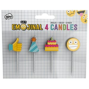 NPW Emoticon Geburtstag Kuchen Kerzen-Pack of 4Kerzen Get emojinal