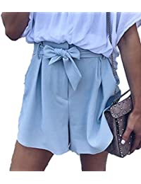 YYong Womens Self Tie Belt Waist Loose Fit Solid Plaid Summer Short