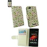Emartbuy® Sony Xperia M Luxuxmappen Schutzhülle / Abdeckung / Pouch Floral Rosa / Grün Mit CRotit Card Slots Und Lcd Displayschutzfolie