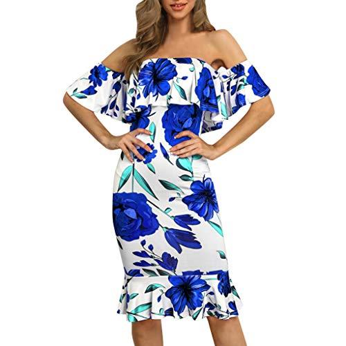 Sexy Schulterfreies Kleid für Damen, figurbetont, Vintage-Rüschen, Blumenmuster, ärmellos, schmale Passform, Clubwear, Urlaub, Abendparty, formeller Schrägausschnitt, blau, - Gangster Mini Kleid Kostüm