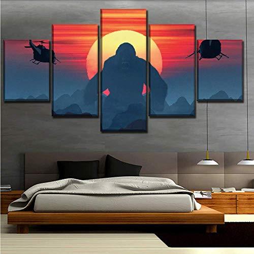 Wuwenw 5 Panel Kong Skull Island Abenteuer Filme Poster Bestbewertet Leinwanddruck Malerei Wandkunstwerk Dekorative Wohnzimmer, 4X6 / 8/10 Zoll, Mit Rahmen