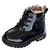 LuckyGirls Wasserdicht Stiefel Kinder Kurze Schneeschuhe Jungen MäDchen Martin Sneaker Winter Dicke Schnee Baby Schuhe Freizeitschuhe (EU: 20, Schwarz)