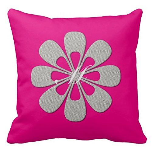 Abstrakt Bright Hot Pink Grau mit Blumenmuster für Sofa quadratisch kissenrollen dekorativ Kissen Einzigartige Accent Kissenbezug 45,7x 45,7cm (Pink Kissen Dekorative Hot)