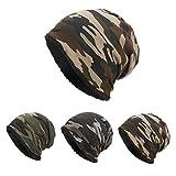 YWLINK Beanie MüTze Camouflage Woodland Mit Warmes Futter FüR Damen Herren MäDchen Jungen Hat Unisex One Size(Kaffee)