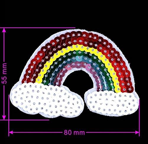 Desconocido Parche de Lentejuelas Grandes arcoíris para Planchar o Coser, para Coser Ropa o Prendas de Bricolaje, diseño de Hotfix, Dos tamaños: pequeño arcoíris