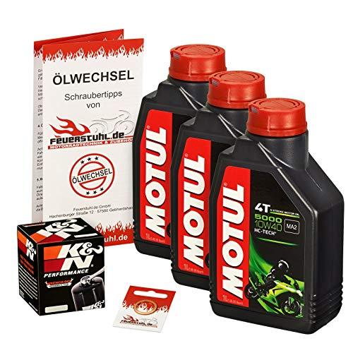 Motul 10W-40 Öl + K&N Ölfilter für Kawasaki GPZ 500 S, 88-93, EX500A - Ölwechselset inkl. Motoröl, Filter, Dichtring