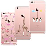 [3 Stück] iPhone 5 Hülle, iPhone 5S Hülle, iPhone SE Hülle, Blossom01 Cute Funny Kreative Cartoon Transparent Silikon Bumper für iPhone 5 / 5S / SE - Flamingo & Giraffe & Pinguin